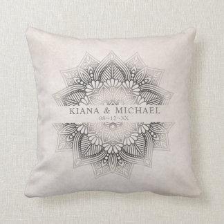 Mandala Lace Wedding Newlyweds Neutrals ID478 Throw Pillow
