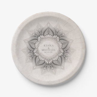 Mandala Lace Wedding Party Supplies Neutrals ID478 Paper Plate