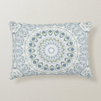 Mandala Medallion in Blue and White Accent Pillow