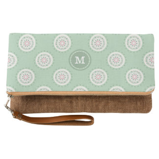 Mandala mosaic monogram mint green & pink mandala clutch