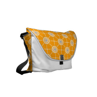 Mandala mosaic patchwork orange blue and white courier bags