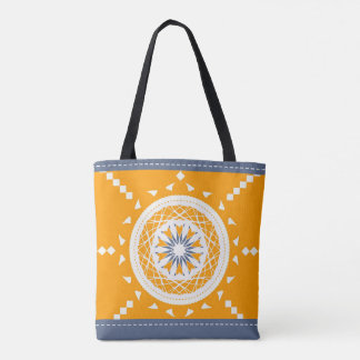 Mandala mosaic patchwork orange blue and white tote bag