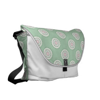 Mandala mosiac patchwork mint green and pink messenger bags