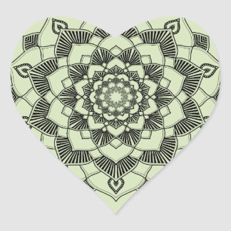 Mandala Motif Heart Stickers