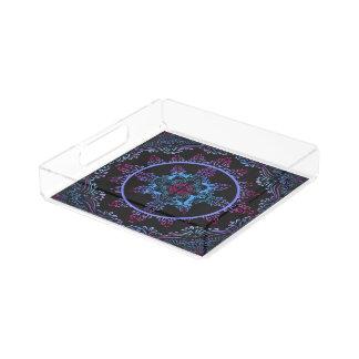 Mandala Night Flower Acrylic Tray