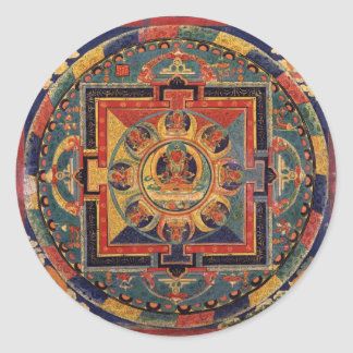 Mandala of Amitayus. 19th century Tibetan school Round Sticker
