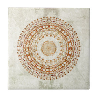 Mandala of Desire in Golden Yellow Ceramic Tile