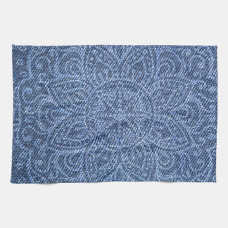 Mandala on Blue Jeans Hand Towels