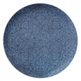 Mandala on Blue Jeans Plates