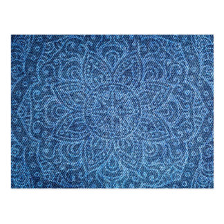 Mandala on Blue Jeans Postcard