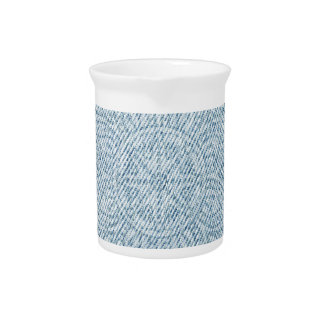 Mandala on Light Blue Jeans Beverage Pitcher