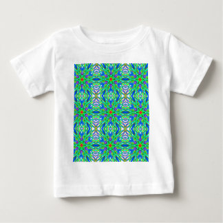 Mandala On White With Aqua Pink And Blue - Tiled Baby T-Shirt