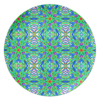 Mandala On White With Aqua Pink And Blue - Tiled Plate