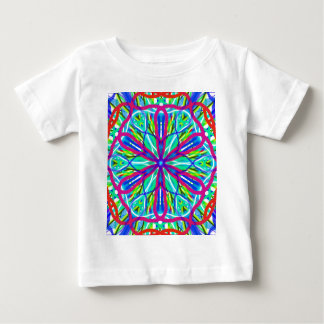 Mandala On White With Blue Pink And Red Baby T-Shirt
