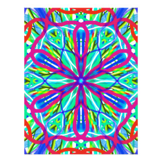 Mandala On White With Blue Pink And Red Custom Letterhead