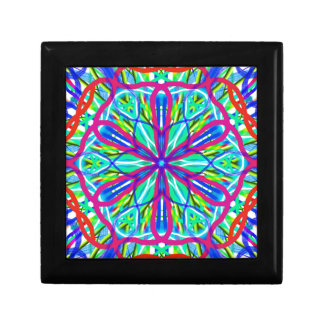 Mandala On White With Blue Pink And Red Jewelry Boxes