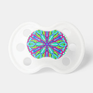Mandala On White With Blue Pink And Red Pacifier