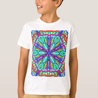Mandala On White With Blue Pink And Red T-Shirt