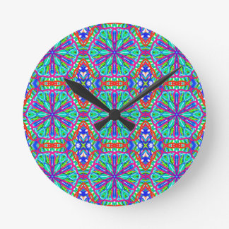 Mandala On White With Blue Pink And Red - Tiled Clocks