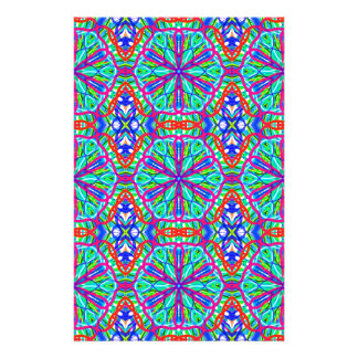 Mandala On White With Blue Pink And Red - Tiled Custom Stationery