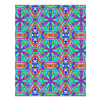 Mandala On White With Blue Pink And Red - Tiled Customized Letterhead