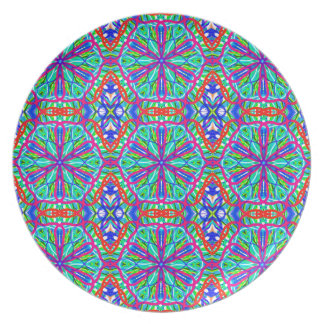 Mandala On White With Blue Pink And Red - Tiled Party Plate