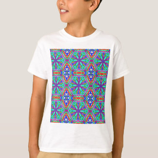 Mandala On White With Blue Pink And Red - Tiled T-Shirt