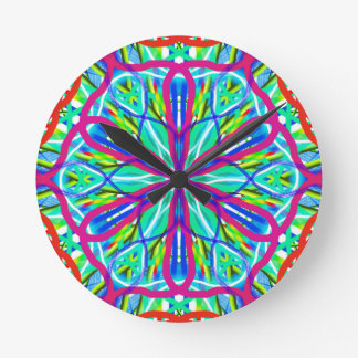 Mandala On White With Blue Pink And Red Wall Clock