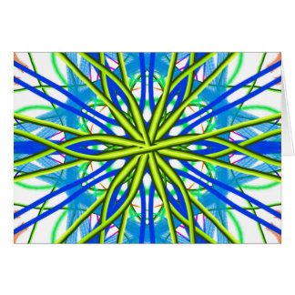 Mandala On White With Yellow And Blue Card