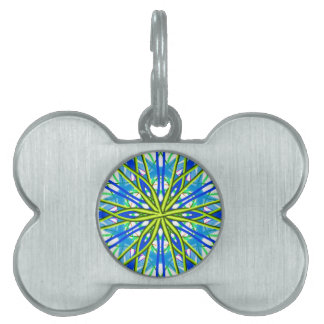 Mandala On White With Yellow And Blue Pet ID Tags