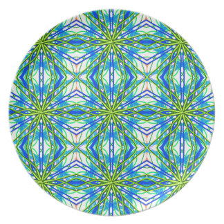Mandala On White With Yellow And Blue - Tiled Dinner Plates