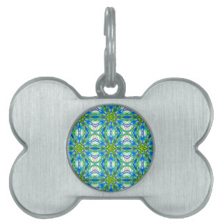 Mandala On White With Yellow And Blue - Tiled Pet ID Tags