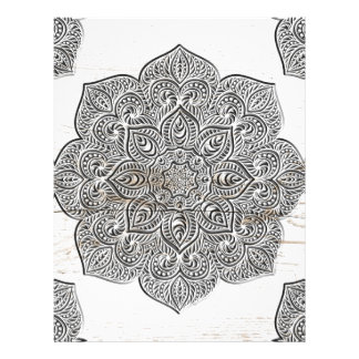 Mandala on white wood custom letterhead