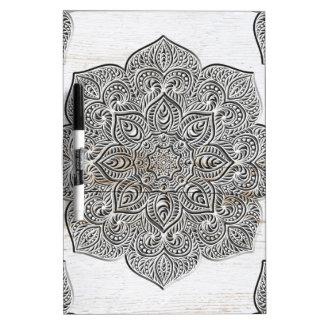 Mandala on white wood dry erase white board