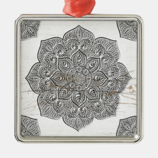 Mandala on white wood Silver-Colored square ornament