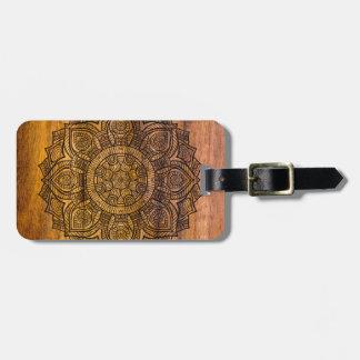 Mandala on wood luggage tag