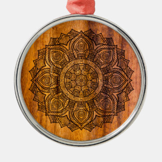 Mandala on wood Silver-Colored round ornament