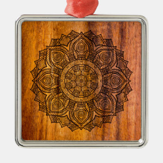 Mandala on wood Silver-Colored square ornament