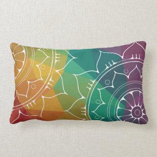 Mandala oriental flower, geometric rainbow modern lumbar pillow