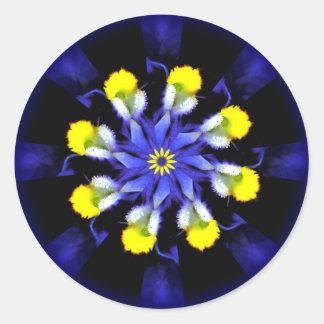 Mandala Pansy Blue & Yellow Stickers