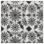 Mandala pattern , black, white and grey / grey fabric