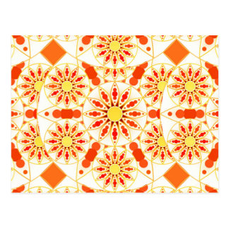 Mandala pattern, brick red, rust, gold postcard