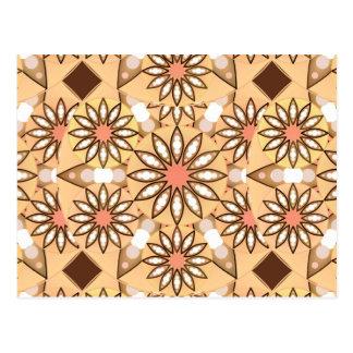 Mandala pattern, caramel tan, chocolate brown postcard