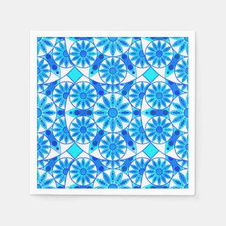 Mandala pattern, cobalt blue and turquoise paper napkin