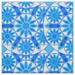 Mandala pattern, cobalt, turquoise and white fabric