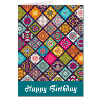 Mandala pattern colourful birthday card