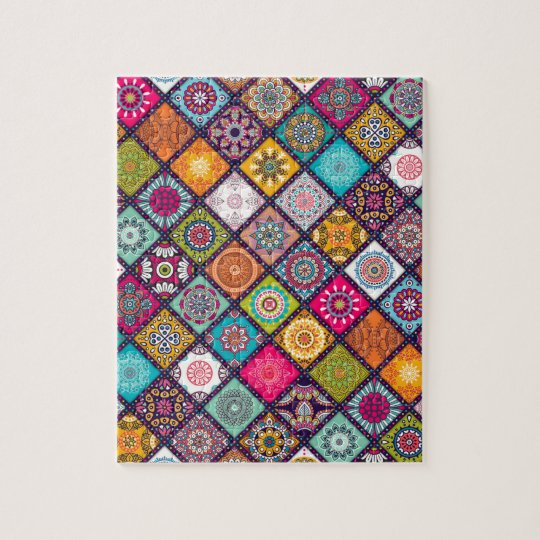 Mandala pattern colourful Moroccan Jigsaw Puzzle