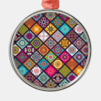 Mandala pattern colourful Moroccan Metal Ornament