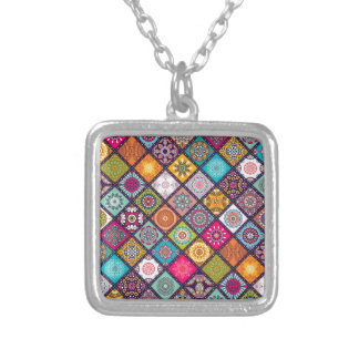 Mandala pattern colourful Moroccan Silver Plated Necklace