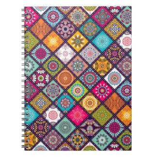 Mandala pattern colourful Moroccan Spiral Note Book